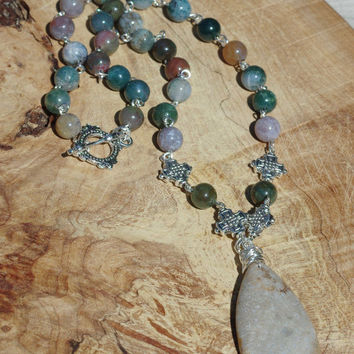 Indian Agate Necklace ~ Semi Precious Stones ~ Boho Jewelry ~ Agate Stone Pendant ~ Indian Agate Necklace ~ Bohemian Jewelry ~ Earth Colours