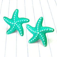 turquoise starfish studs - turquoise earrings - turquoise jewelry - turquoise studs - starfish earrings - starfish studs - starfish jewelry