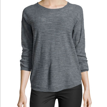 Women's Half-Sleeve Slub Sweater, Heather Gray - Halston Heritage - Medium heather gr (X-LARGE)