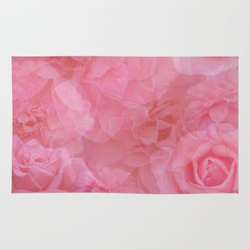Soft Pastel Pink Rose Quartz Collage Rug by KateLCardsNMore
