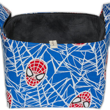 NEW Spider-Man Storage Bin | Glow in the Dark Fabric Storage Basket | Spider-Man Glow in the Dark Desk Organizer | Bedroom Storage