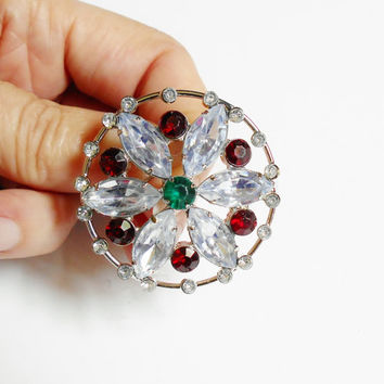 Round Rhinestone Brooch, Clear Navette Stones, Vintage Pin Pendant, Scarf Clip, Silver Dark Red Green, Flower Brooch