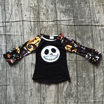new arrival Halloween Fall baby girls long sleeve black skull print boutique icing top T-shirts raglans cotton children clothes
