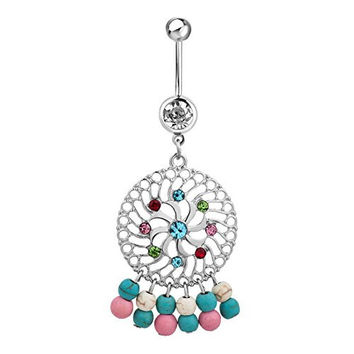 Sexy Belly Rings Cheap Belly Button Rings Women Stainless Surgical Steel Colorful Birthstone Crystal