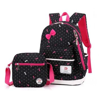 Student Backpack Children 3 set College School Student Backpack for Teenagers Nylon High Quality Backpack Bow Teenage Girls Shoulder Students Bags BV04X AT_49_3