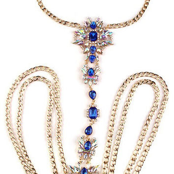 'Laurina' Jeweled Body Chain - Blue