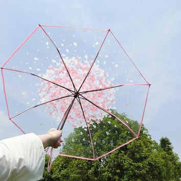 New Fashion Transparent Clear Umbrella Sakura Umbrella rain women Romantic Folding Classic Cherry Umbrella Clear Flower Umbrella