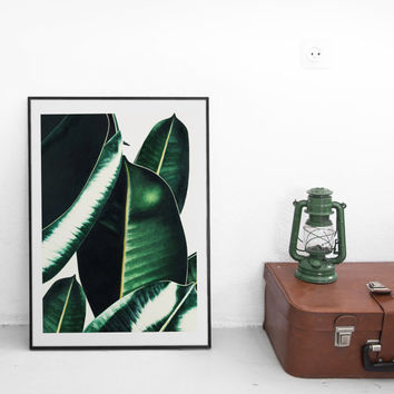 Tropical leaves illustration. Green leaf. Nature poster.Printable leaves, Palm, banana leaf. Printable poster. Tropical print. Tropic poster