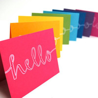 Hello Stationery in Rainbow Colors by sparrownestscript on Etsy