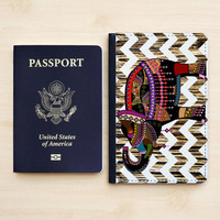 PASSPORT COVER ELEPHANT Passport Holder  Passport Wallet Leather Aztec Native Elephant Pattern Chevron On Wood,Wooden