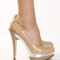 Nude Buckle Back Platform Pumps