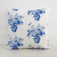 Blue and white chinoiserie cushion cover - designer square cushion - FREE SHIPPING Australia wide
