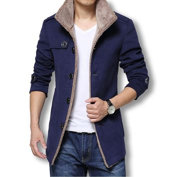 Men Walker Long Wool Coat