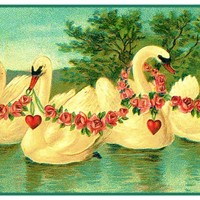 Vintage Valentine Swans Hearts and Flowers Counted Cross Stitch Pattern