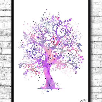 Tree 2 Watercolor print Pink Tree poster Illustration Wedding Gift Fine Art Print Nursery Art Giclee Wall Hanging Home Decor Kids room