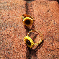 Sunflower Gold Ring   Adjustable Gold Ring with a by UpcycleFever