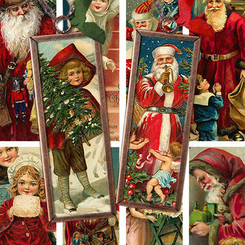 Set of Two Victorian Christmas Microslides 1x3 inches -- piddix digital collage sheet nos. 414 and 415