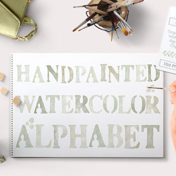 Green Watercolor Alphabet Clipart. Sage green hand painted graphics. PNG files available for instant download. Small Commercial Use allowed