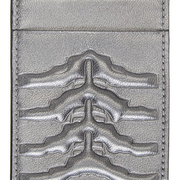 Alexander Mcqueen Silver Embossed Rib Cage Card Holder