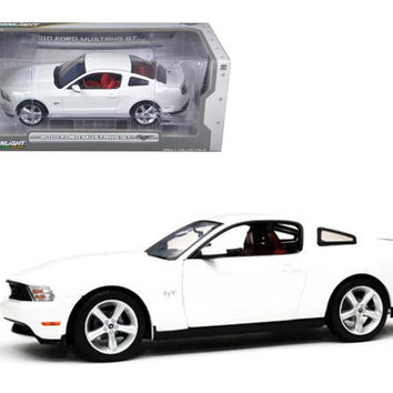 2010 Ford Mustang GT Coupe Performance White with Brich Red Interior With Cashmere White Seat Stripes 1-18 Diecast Car Model by Greenlight