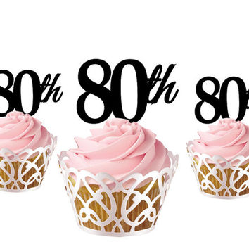 4 pcs a set  CupCake topper 80th, cake decor for 80th birthday, acrylic cupcake toppers party decor, anniversary cupcake topper supplies