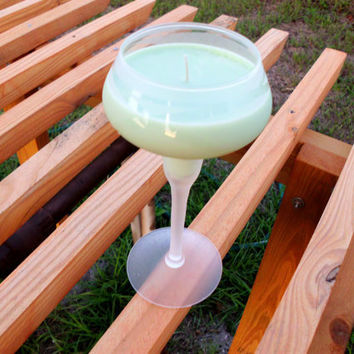 Handmade Soy Candle Midnight Margarita in Hand by BlackWillowSoaps