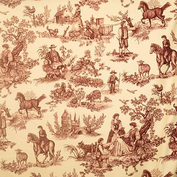 Vervain Fabric 0578905 Cavalier Toile Red On Ecru