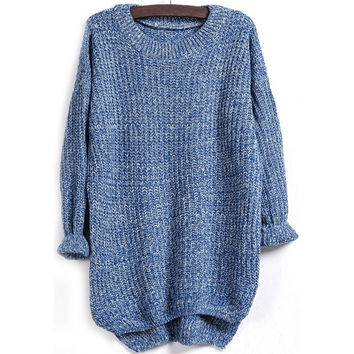 Sheinside Blue Long Sleeve Dipped Hem Loose Sweater One Size = 1920086404