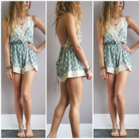 A Dainty Floral Crochet Romper- Sage