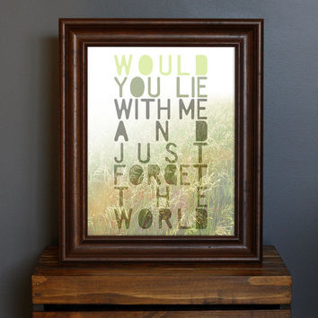 Romantic, Hazy Art Print - Just Forget The World - Snow Patrol lyric - love, daydream, dreamy, nature, summer - green, gray - 8 x 10