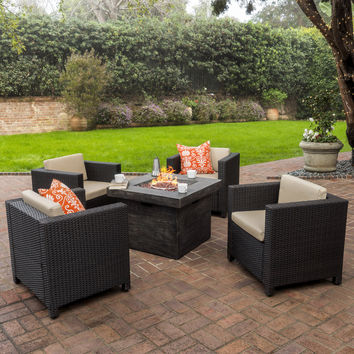 Patagonia Outdoor 5 Pc Wicker Club Chair Set with Firepit