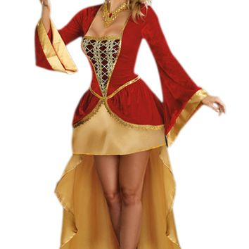 Atomic Red and Gold Royal Queen Costume