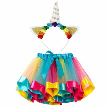 Little Girls Layered Rainbow Tutu Skirts Unicorn Horn Flower Headband Birthday Party Costume