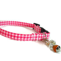 "Designer Cat or Small Dog Collar Ready to Ship size 8-10.5"" - Pink Gingham tag collar - ID collar, Cat collar, Small Dog Collar"