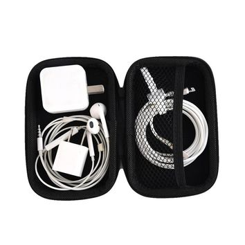 Portable Black Headphone Case Protective Usb Cable Data Lines  Digital Equipment Organizer Box