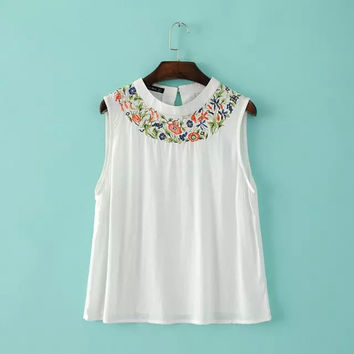Round-neck Sleeveless Embroidery Pullover Women's Fashion Tops T-shirts [4918626116]