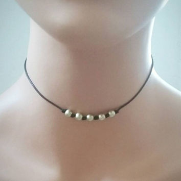 Black leather choker,beaded choker,simple choker, minimal choker,beads choker,thin choker,boho choker,layering necklace,Choker necklace