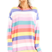 Castaway Stripe Roadtrip Sweater - Long Loose Pullover - Wildfox