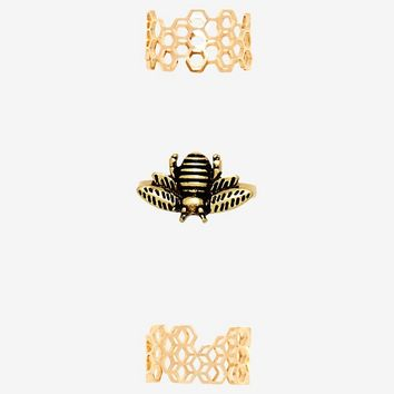 Bee Honeycomb Stacking Ring Set