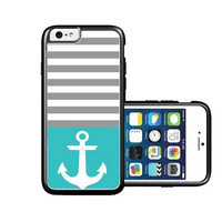 RCGrafix Brand Anchor Teal Chevron Black iPhone 6 Case - Fits NEW Apple iPhone 6