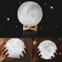 3D LED Moon Night Light with Base Moonlight Lamp