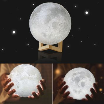 3D LED Moon Night Light with Base - Moonlight Lamp