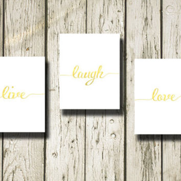 Live Laugh Love Gold White Set of 3 Printable Instant Download Print Poster Digital Art Wall Art Home Decor G188-189-190wg