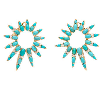 Turquoise and Diamond Starburst Earrings