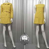Vintage 60s Pastel Yellow Mod Two Piece Womens Suit Dress Suit Mini Shift Dress and Coat Jacket Lemon Yellow Belted Coat Jackie O 1960s Mod