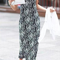 Spandex Printed Sleeveless Maxi Dress