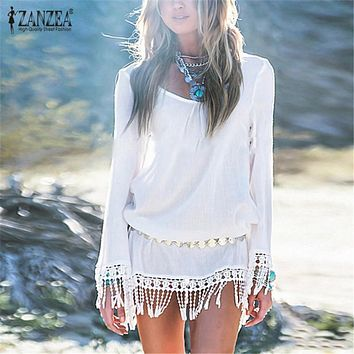 Zanzea 2017 Sexy Women Summer Chiffon Dress Vestidos Long Sleeve Boho Lace Tassel Patchwork Tunic Hollow Out Beach Mini Dresses