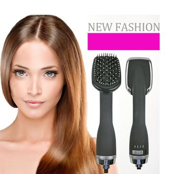CHJ Hair Dryer Comb Ionic Wet Hair Straightening Dryer Multi Color Hair Curler Brush Professinal Salon hair Styler Brush