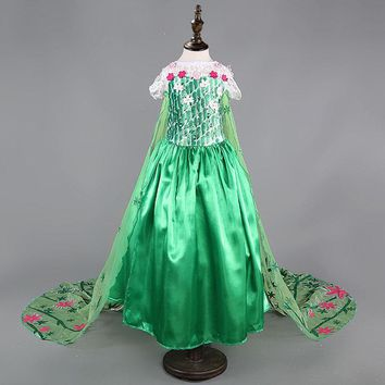 princess green elsa dress High quality baby girls costumes snow queen cosplay dresses kids clothes fantasia vestido for children
