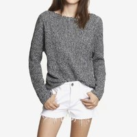 HORIZONTAL SHAKER KNIT SWEATER